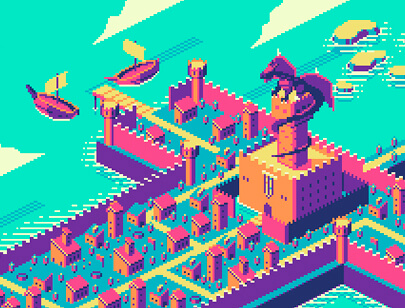 Amazing Isometric illustration styles - Sword-City-8bit-illustration