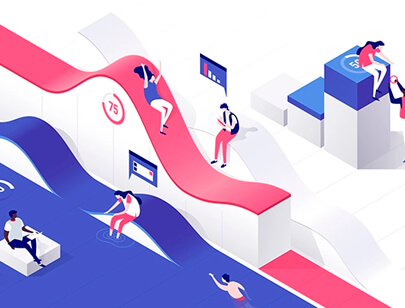 Amazing Isometric illustration styles - Data-playground-material-illustration
