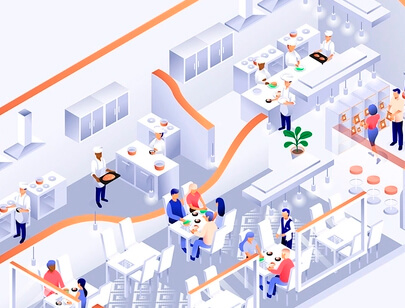Amazing Isometric illustration styles - Restaurant-illustration
