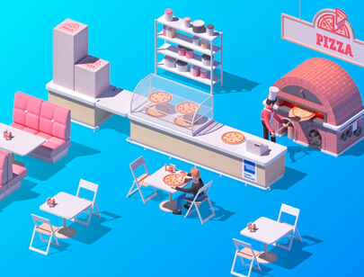 Amazing Isometric illustration styles - futuristic- AMEX-LET-S-GET-BUSINESS-DONE