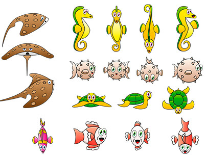 free animal clipart collection - caricature fish animal seahorse