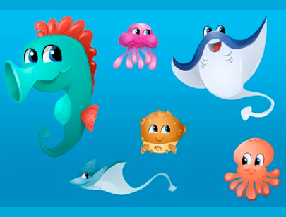 free animal clipart collection - vector ocean creatures