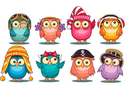 free animal clipart collection - cute-cartoon owls collection