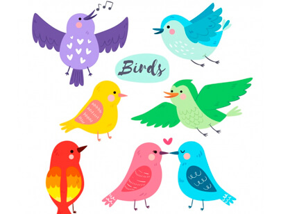 free animal clipart collection - hand drawn bird collection