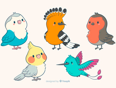 free animal clipart collection - collection cute hand-drawn birds