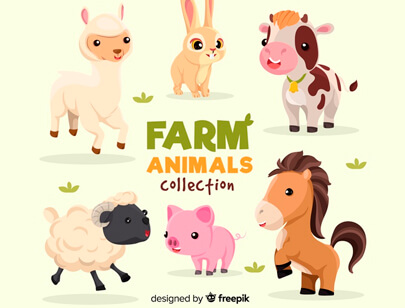 free animal clipart collection - flat farm animal collection