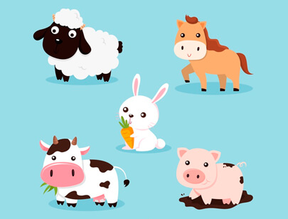 free animal clipart collection - hand-drawn farm animal animal collection