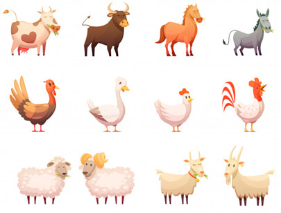 free animal clipart collection - farm animals cartoon icons set hen gobbler cow horse ram cat bunny isolated