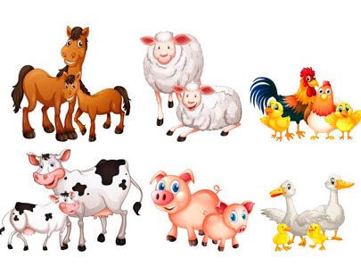 free animal clipart collection - set of farm animal horses sheeps chicken pig duck cow