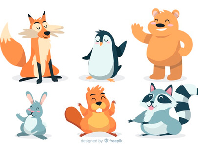 free animal clipart collection - artistic-cartoon-wild-animal-collection