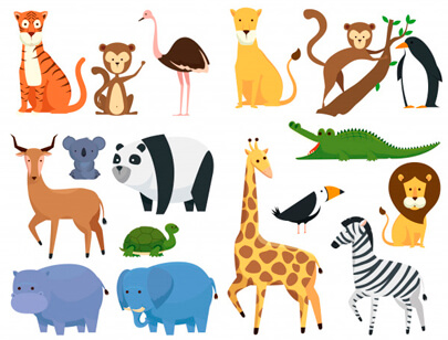 free animal clipart collection - set wild animals zoo safari reserve