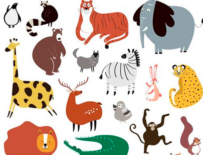 free animal clipart collection - cute wild animals in cartoon style