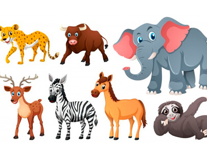 free animal clipart collection - wild animals on white background
