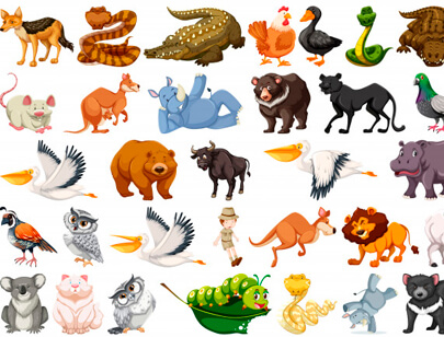 free animal clipart collection - set of wild animals