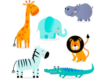 free animal clipart collection - hand-drawn tropical animals