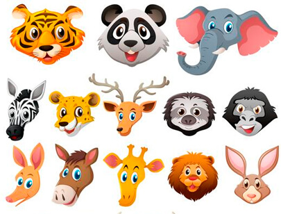 free animal clipart collection - different faces of wild animals