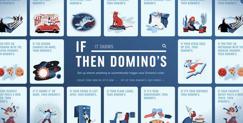 if-this-then-dominos - website with cartoon illustrations