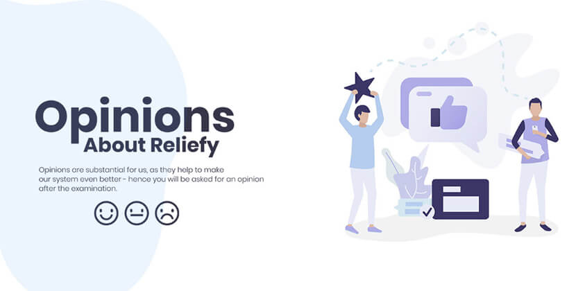 Reliefy - website with character illustrations