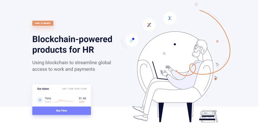 chronobank - website with line art illustrations