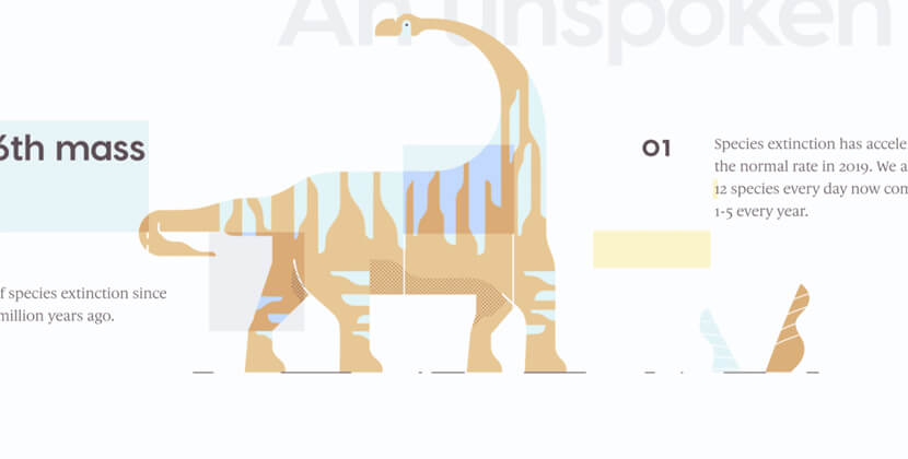 Extinction Crisis - website with abstract illustrations