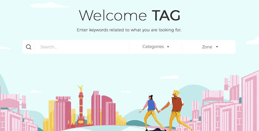 Welcome TAG - website with creative city illustrations