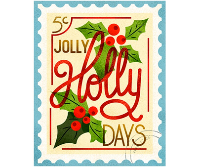 Holly-Days - creative semi transparency typography design example