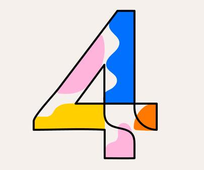 Custom number system - creative line art typography design inspirational example