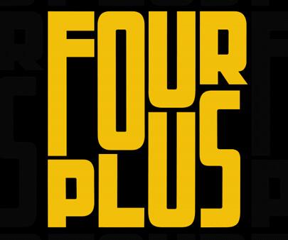 FourPlus - creative maxi typography design example for inspiration