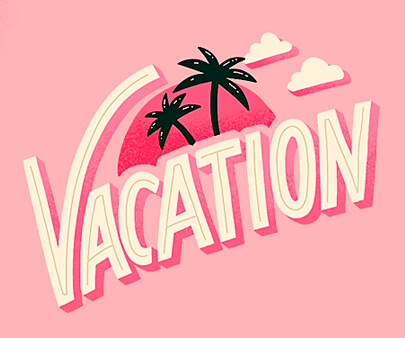 Vacation Mode - creative maxi typography design example for inspiration