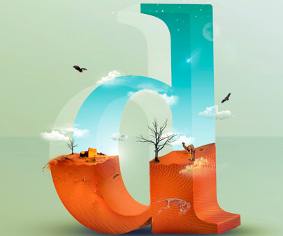 D letter - creative 3D typography design example