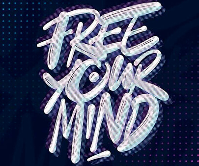 Free Your Mind - liquid and texture creative typography design inspiration example