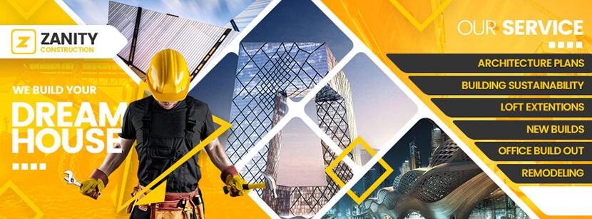 construction company social media cover banner