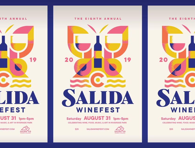 Salida Winefest retro poster design example