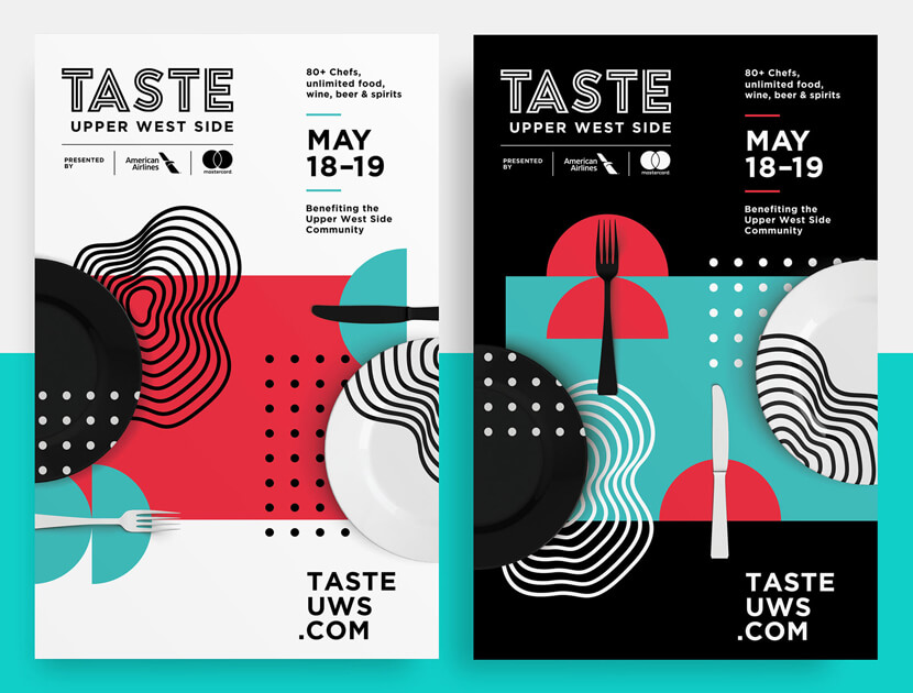 Taste of the Upper Modern West Side Food-Festival-geometry-poster example