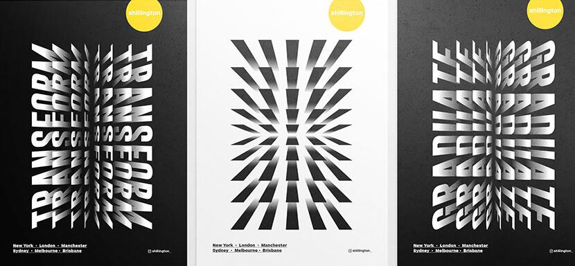 Transform Exhibition creative typography Identity poster example
