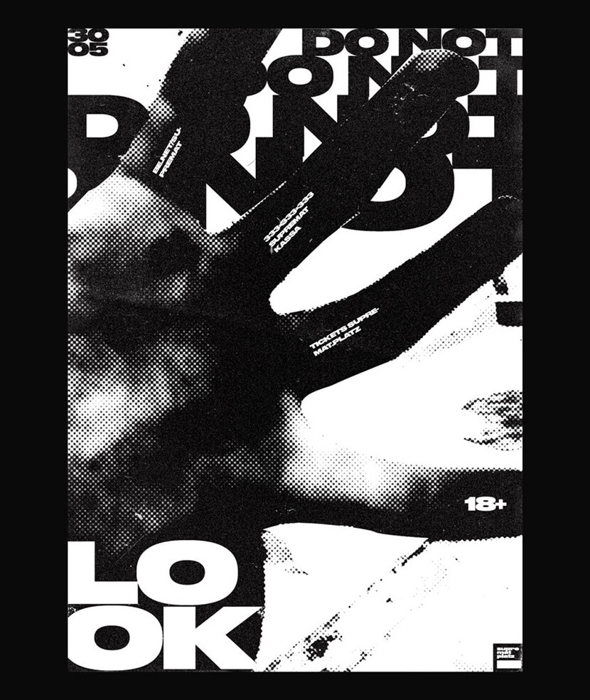 vol8 black and white poster example