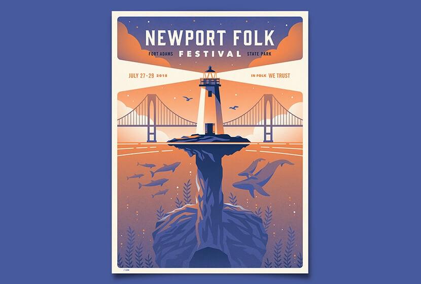 Newport Folk Festival illustration poster example