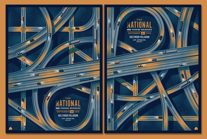 The National Los Angeles CA-creative illustration poster examples