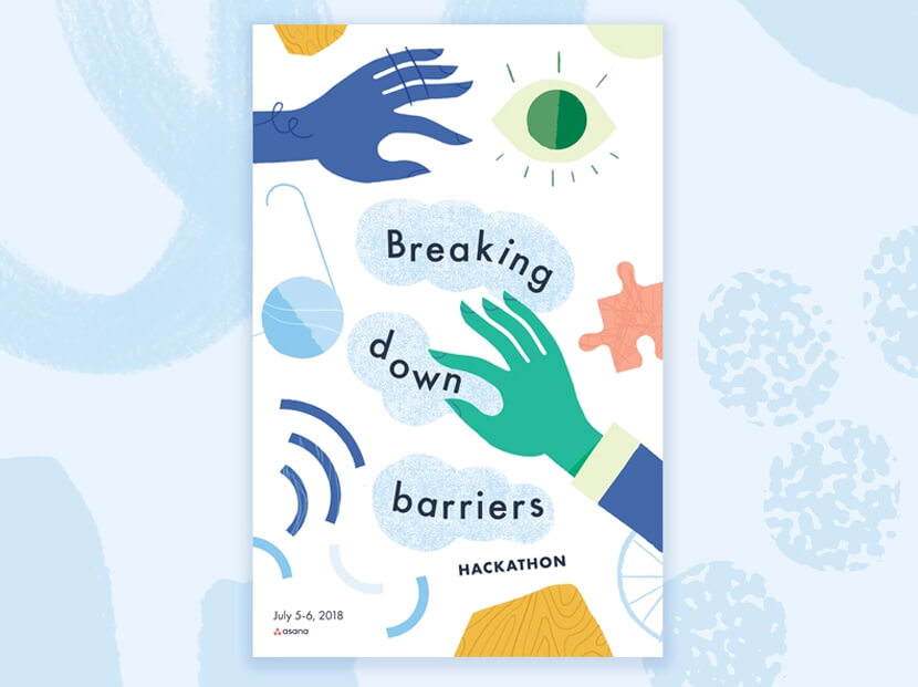 Breaking Down Barriers cartoon illustration poster example