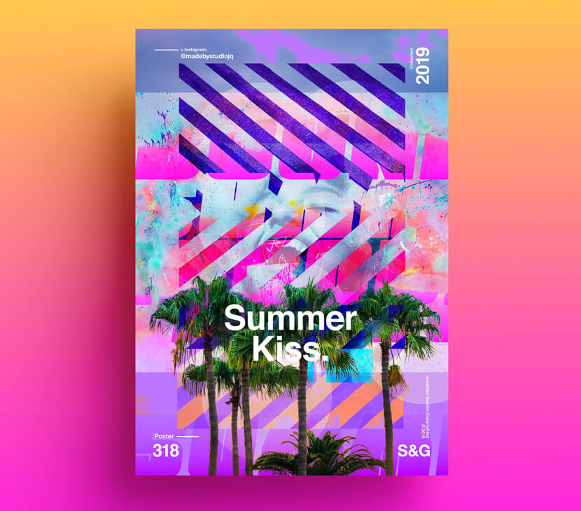Summer Kiss fresh vivid colors poster example