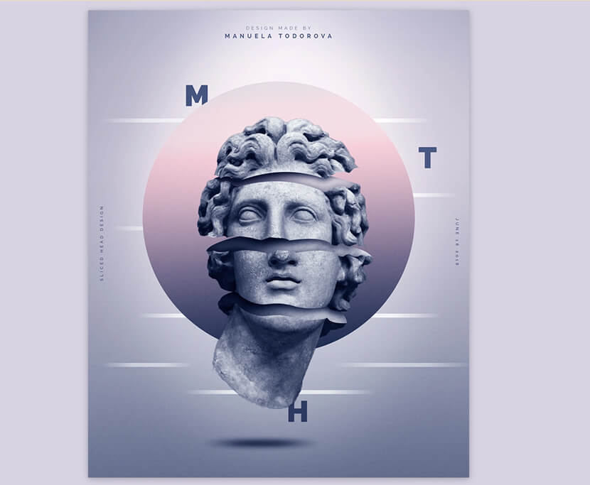 Sliced Head Design manipulation poster example