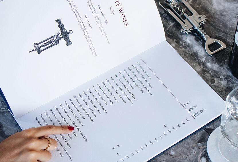 Del Mare stylish menu design for inspiration