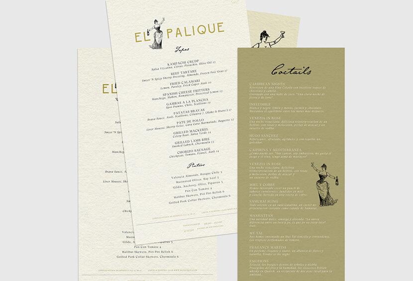 El Palique elegant restaurant menu design for inspiration