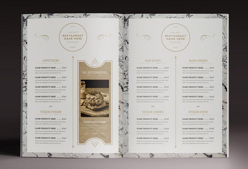 Classy Food menu design for inspiration