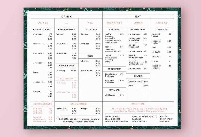 Garden Coffee menu design for inspiration