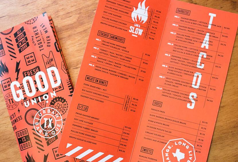 Good Union BBQ minimalistic menu design for inspiration