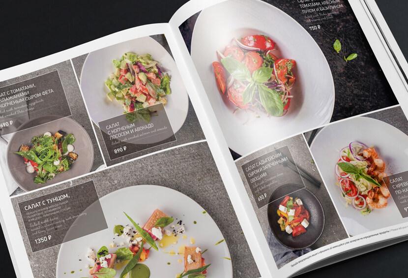 menju dlja restorana ginza minimalistic style menu design with big images for inspiration