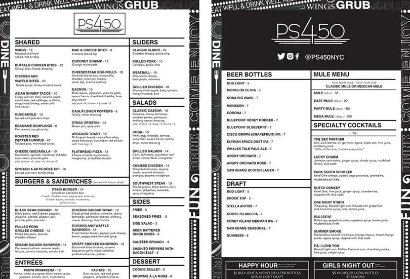 PS450 Dinner black and white menu design for inspiration
