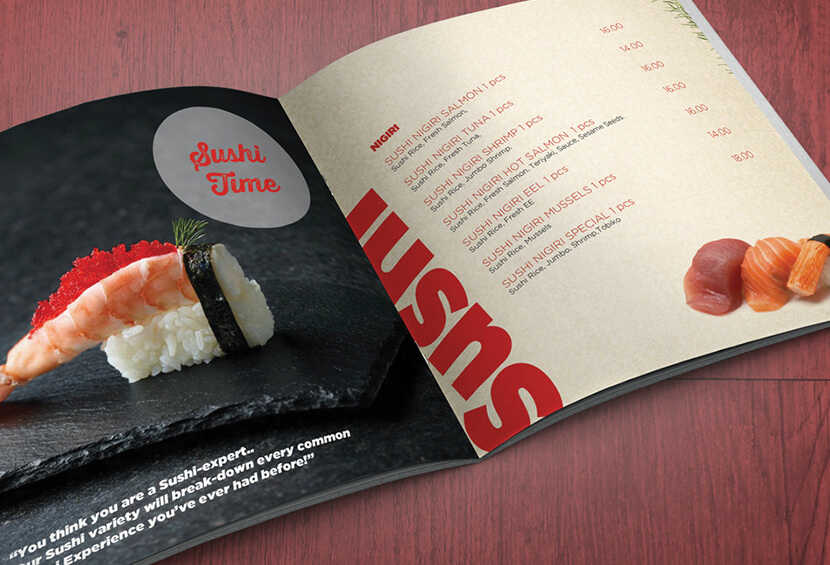 Fresh Food Market menu with rotated text design for inspiration
