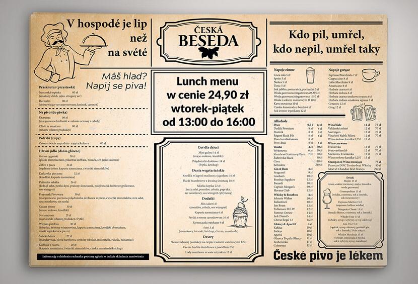 retro menu with old paper design